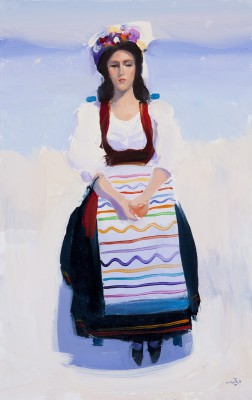 British Artist Alan KINGSBURY - Girl in Corfiot Dress